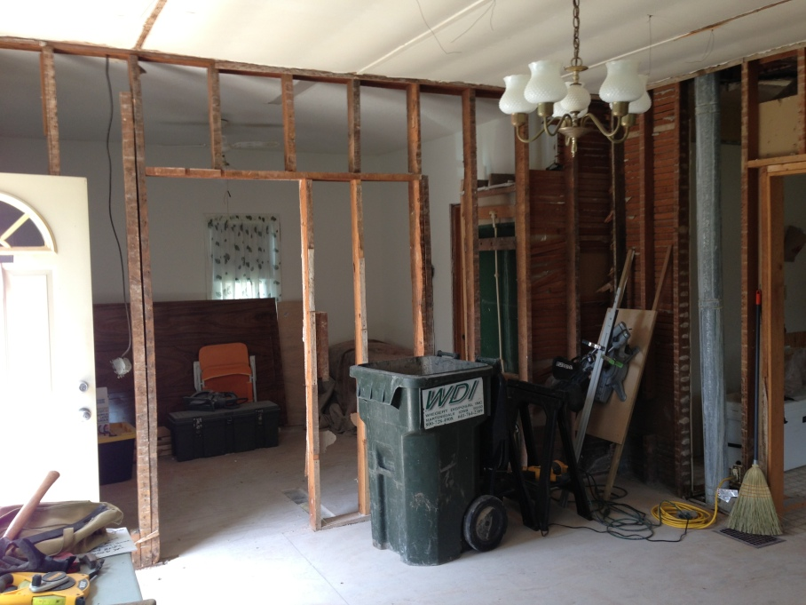Here's the wall now. No lath, and no mess! The framing (some with bark still on it) comes down soon!